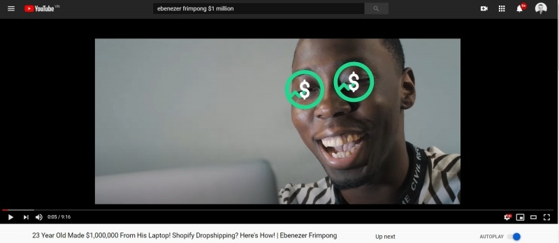High-ticket drop-shipper Ebenezer Frimpong creates valuable content to bring free traffic to his site.