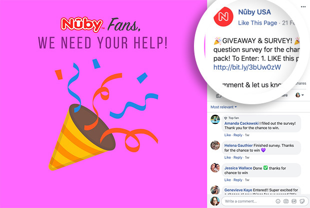 Nuby USA held a Giveaway & Survey to research their customers and attract more followers at the same time