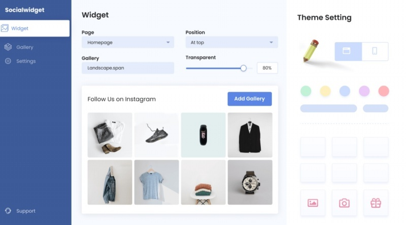 Socialwidget helps you to design a custom Instagram feed layout on your eCommerce store.