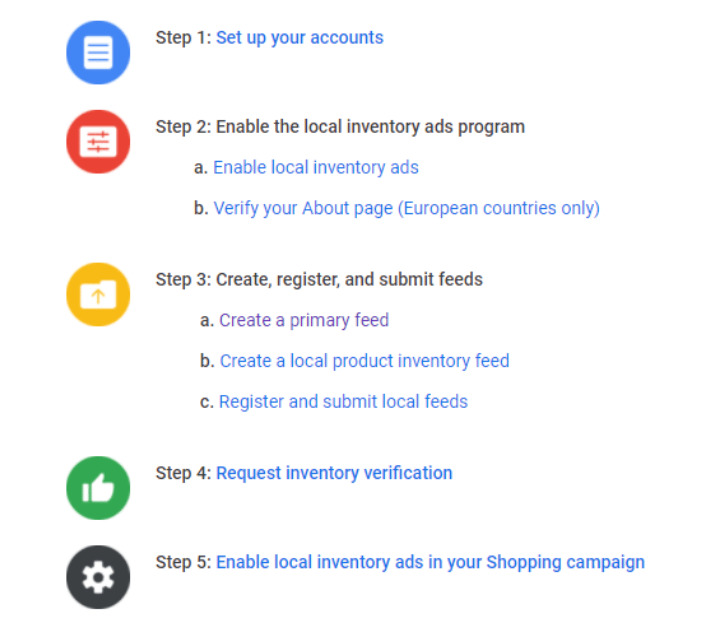 5 steps to apply for Local Inventory Ads - optimize product feeds on facebook shop and google shopping