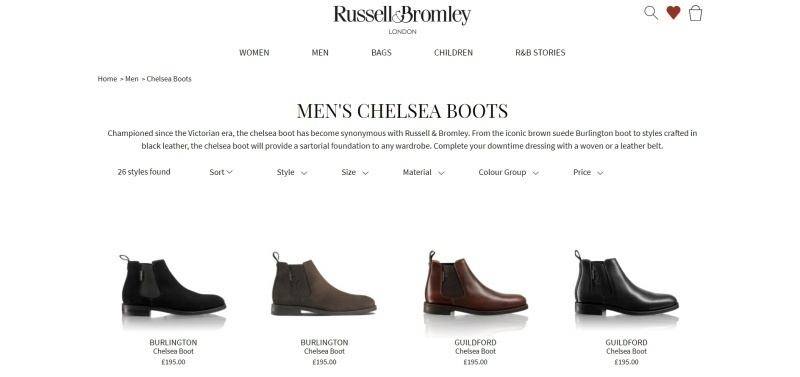 London-based luxury shoe company Russell & Bromley keep menu navigation simple. The company also uses product filtering in their collection pages to make it easier to find what you want. Source: Russell & Bromley.