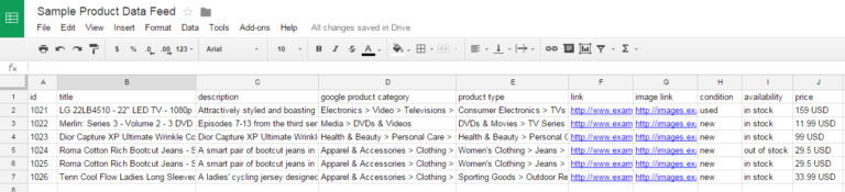Example of product feeds
