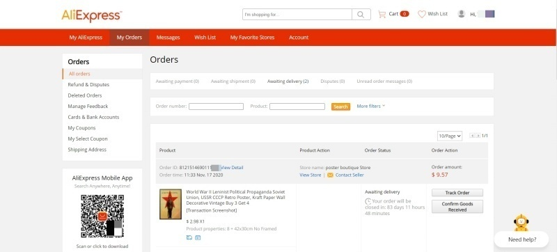 Letting customers track their orders is a great way to boost their confidence in your shipping and keep them excited. Source: AliExpress.