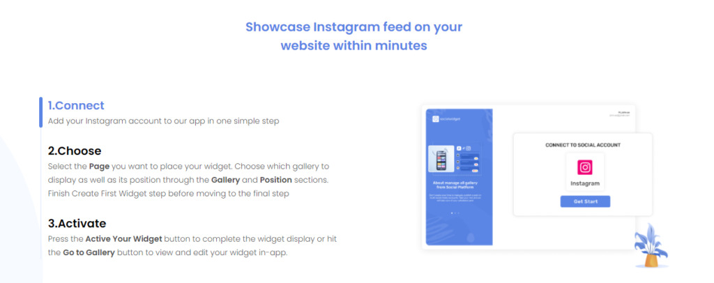 Connect and pin your most stunning feeds on your websites