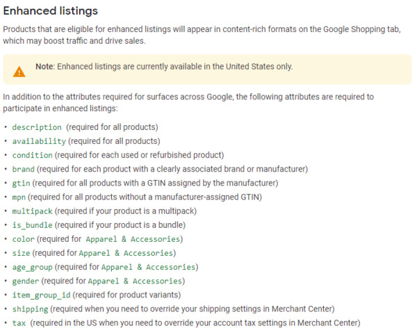 To be on enhanced listing, your products need to have the necessary attributes