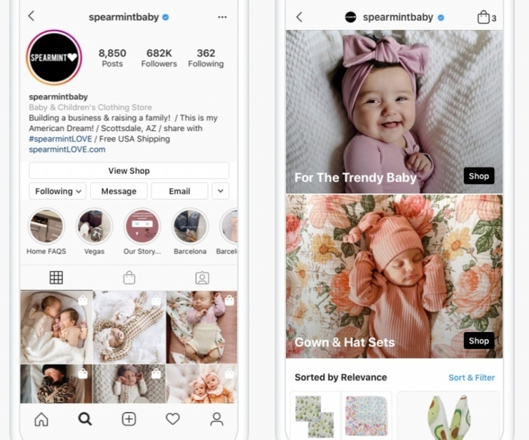 Instagram Shops are a game-changer for social commerce. Expect more sales and traffic. Source: Instagram.