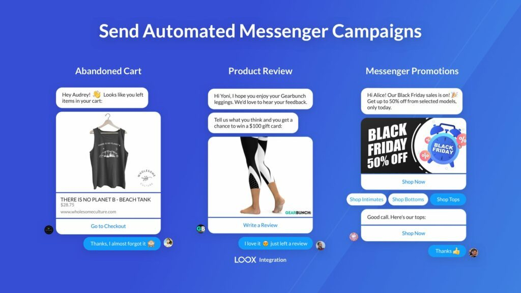 Send automated messenger marketing campaigns (Source: Recart)