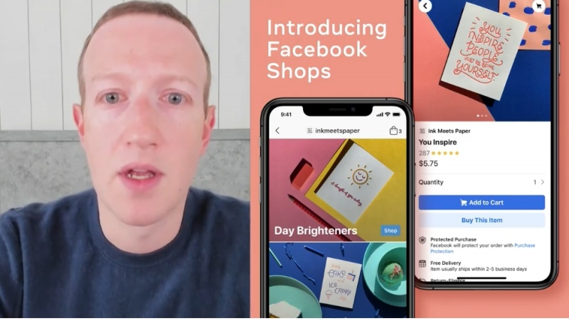 Mark Zuckerberg trying not to look like an alien while introducing Facebook Shops