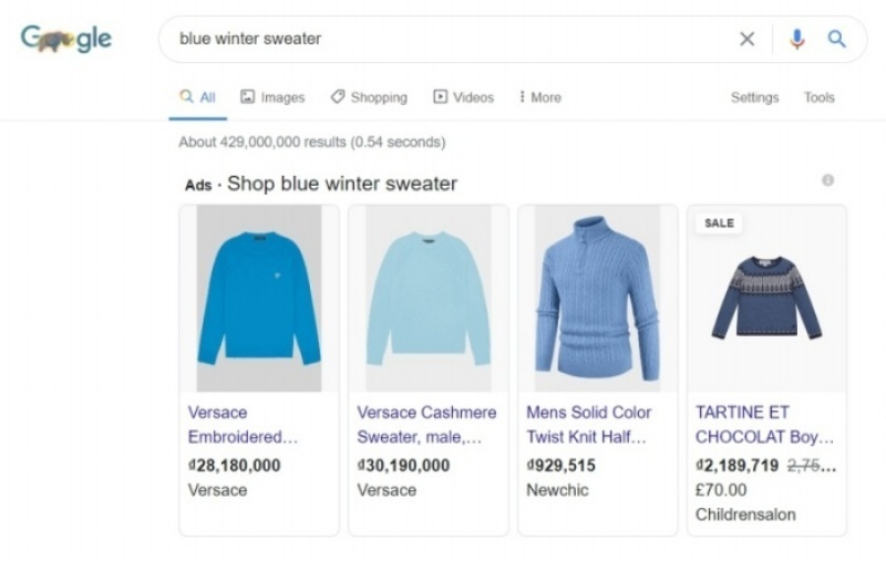 Notice the consistent makeup: Image, title, price, and brand on Google Shopping listings