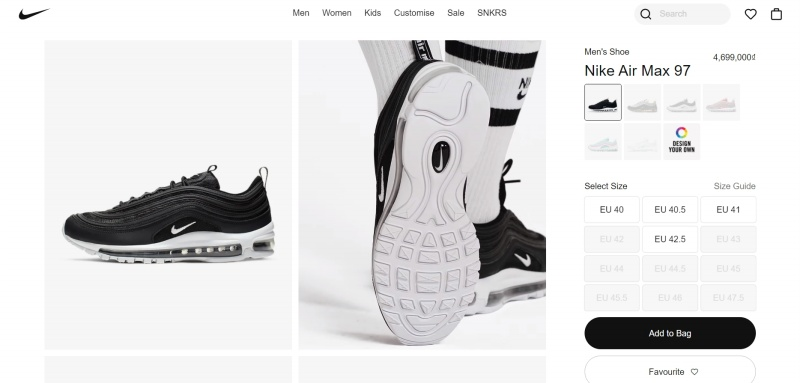 Nike is a fine example of optimized product landing pages: great photos, relevant details, and a clear CTA