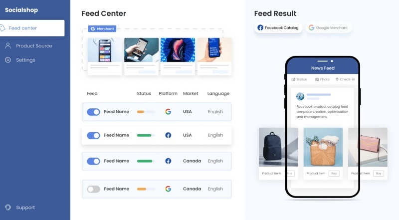 Socialshop allows you to sync your Shopify product feed to your Facebook and Instagram Shops