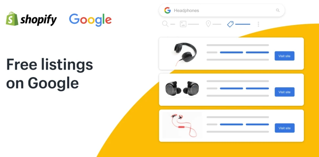 Google and Shopify have partnered to allow merchants to quickly make free listings. Source: Shopify