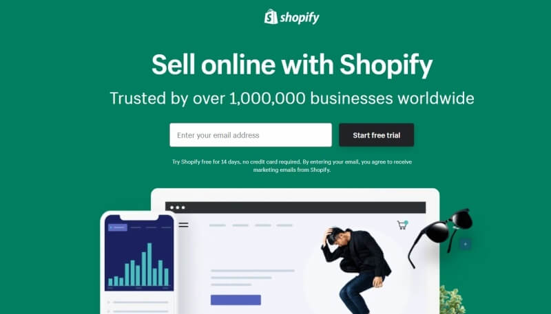 Shopify knows how to make a solid landing page. Keywords and clarity are stand-out features here