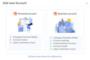 Differences between Personal Account and Business Account - Socialwidget V2.2