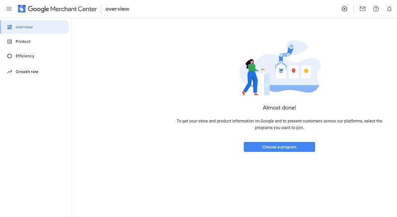 Welcome to your newly created Google Merchant Center account