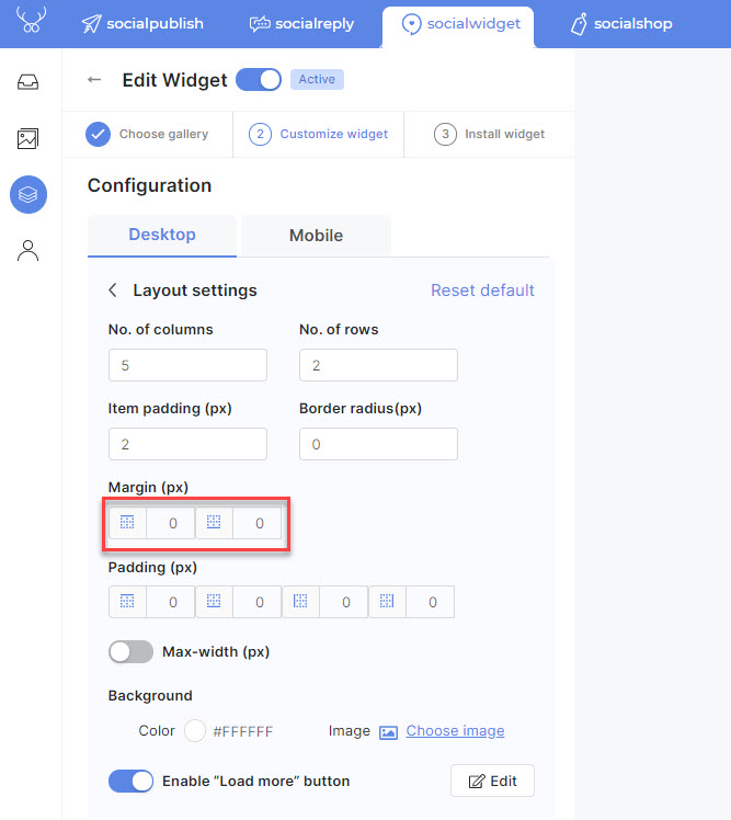 The setting for margin in Socialwidget v2.1 only include top and bottom properties