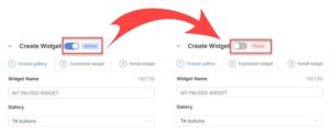 Pause or active your widget easily when you create it - Socialwidget V2.1
