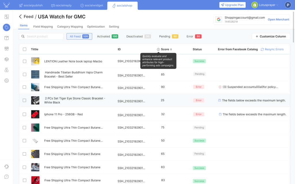 Tracking, optimizing and syncing across Facebook Catalog with Socialshop