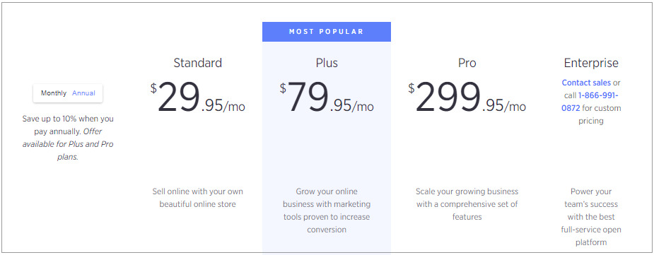 BigCommerce's 3 pricing packages