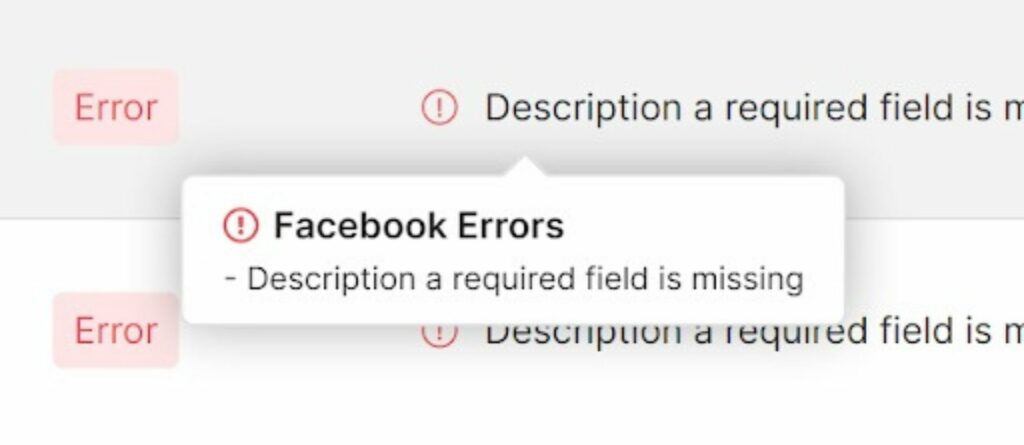 A description is also a required field on Facebook Catalog