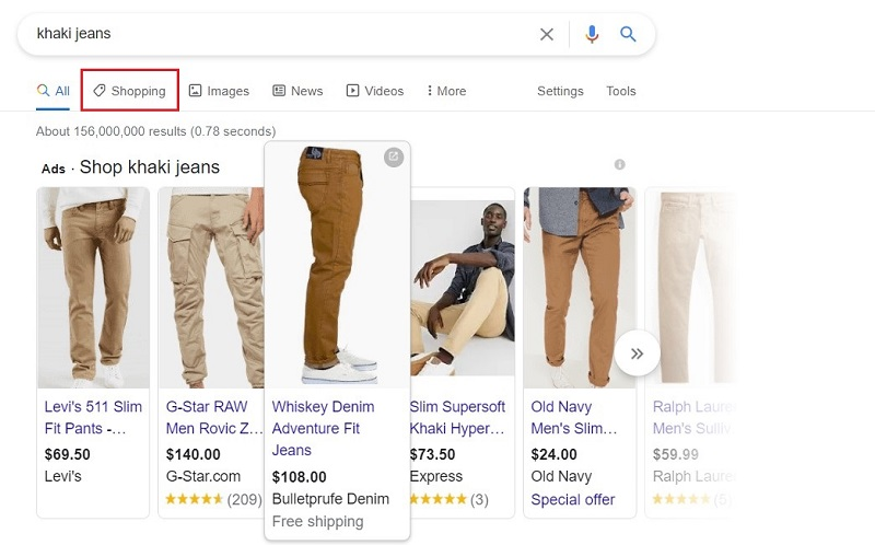 Click the Shopping tag to see Google Shopping listings