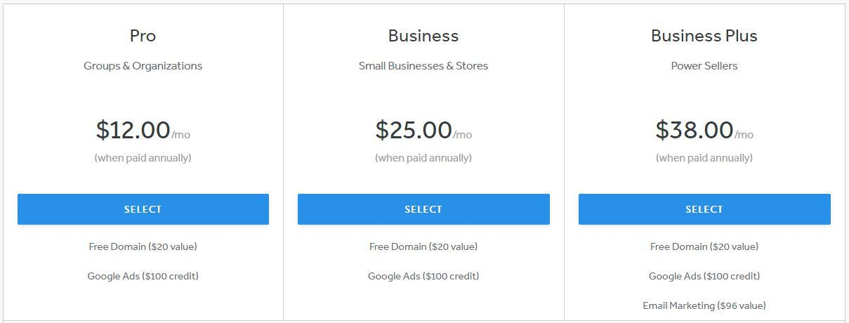 Weebly's 3 pricing packages vary from $12 to $38