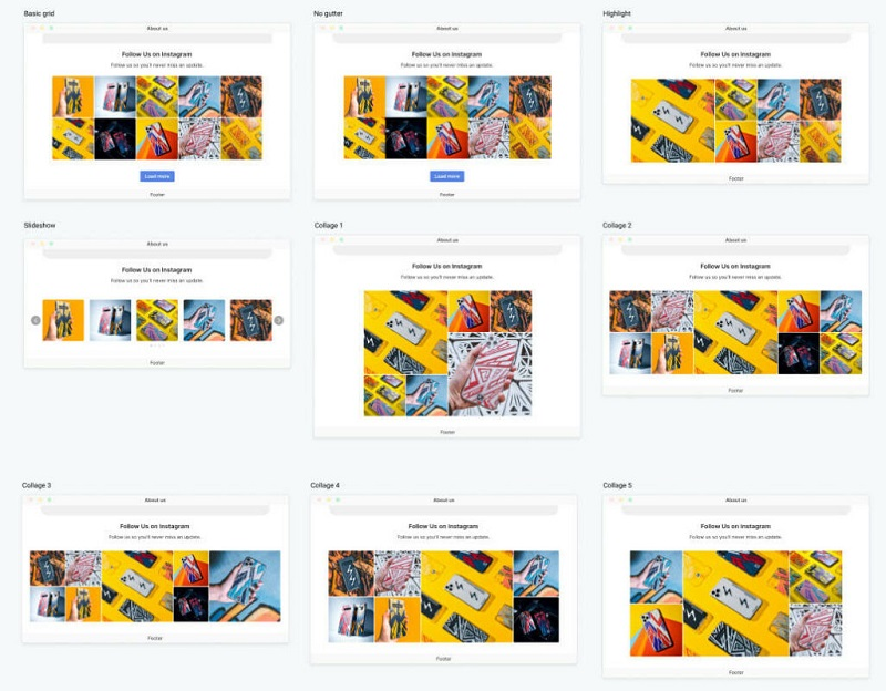 9 templates preview of your Instagram feed