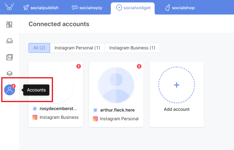 Warning icon makes it easier for you to fix account tokens' issues