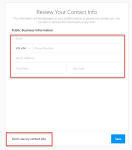 Add your business contact information