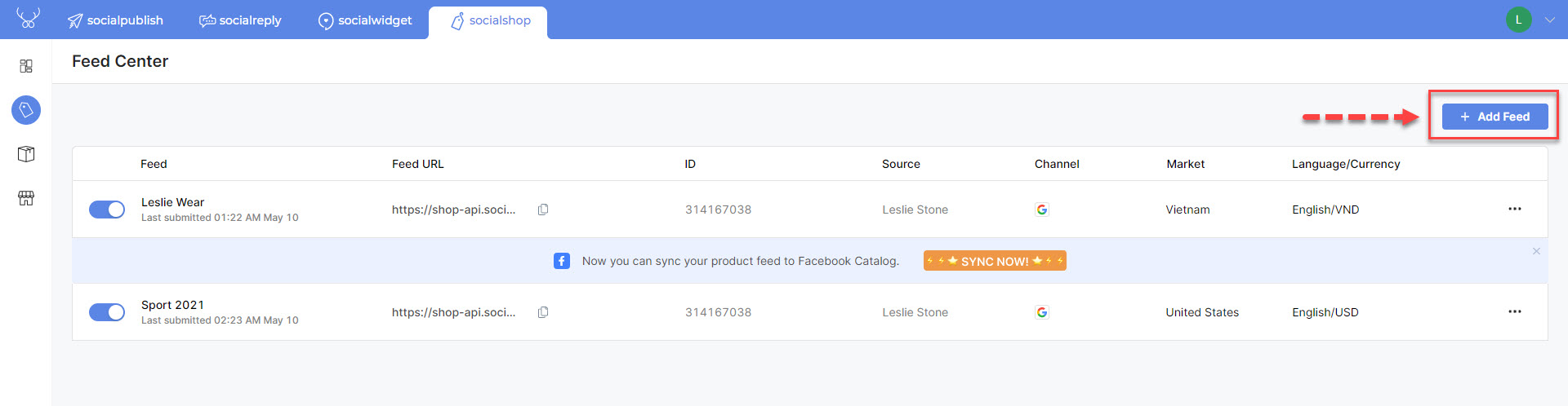 Click on the button here to add a new product feed - Sync Shopify Products to Facebook