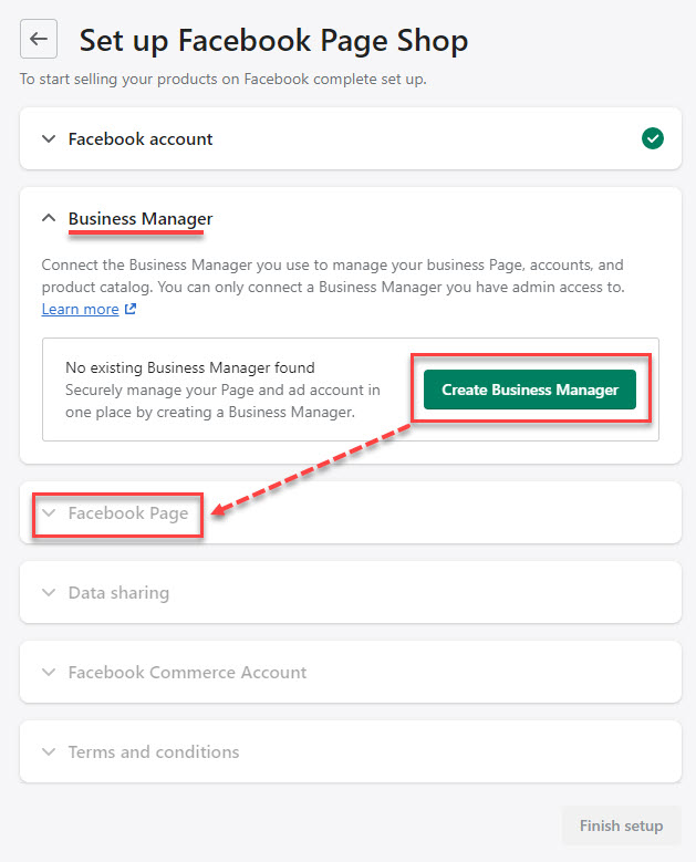 Continue to connect to your Business Manager account and then set up your Facebook page