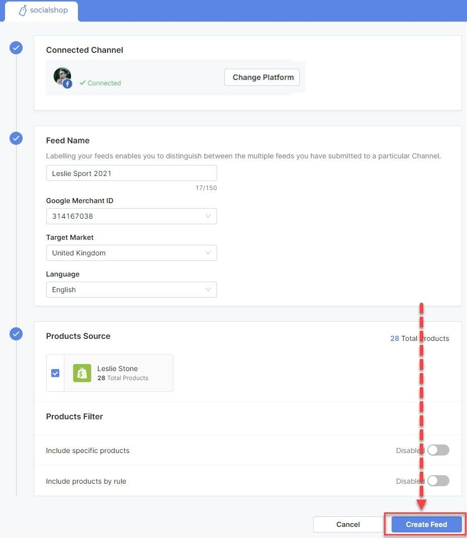 Fill in the info and create your feed - Sync Shopify Products to Facebook