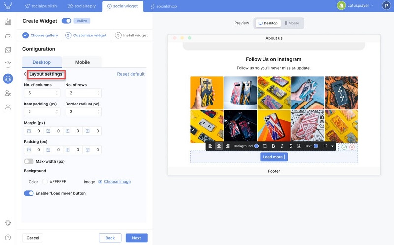 Layout settings to add Instagram feed to Shopify website