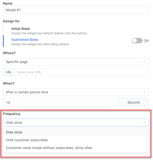You can choose how frequently your popup appear on pages - Socialreply V2.2