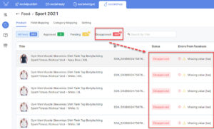 You will be notified of the disapproved products - Sync Shopify Products to Facebook