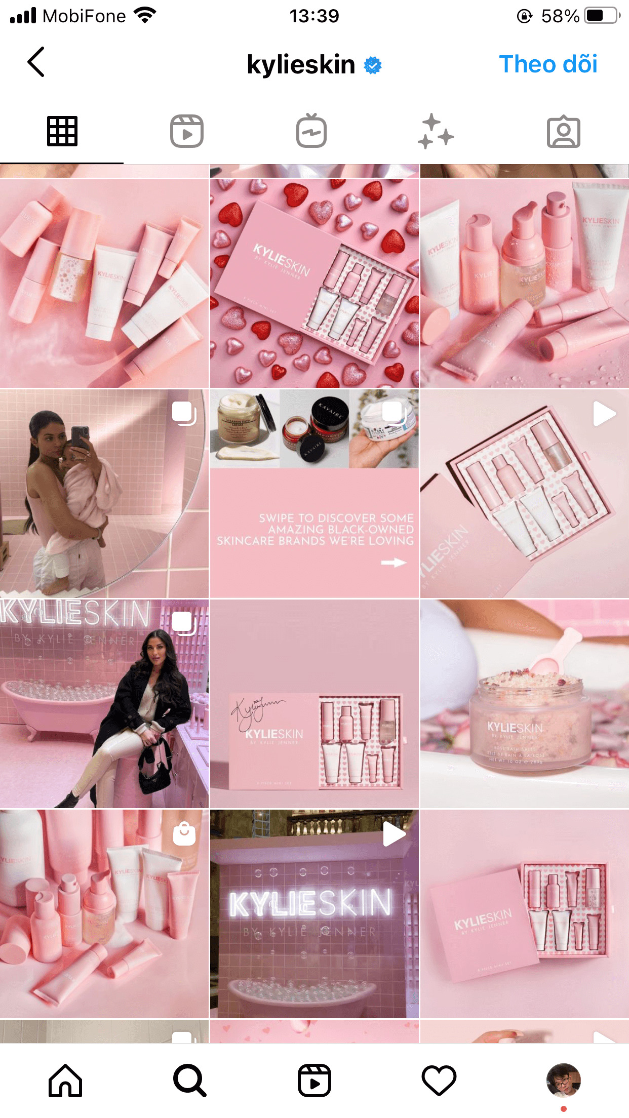 Kylieskin's Instagram pink feed gives a sense of sweetness and luxury at the same time
