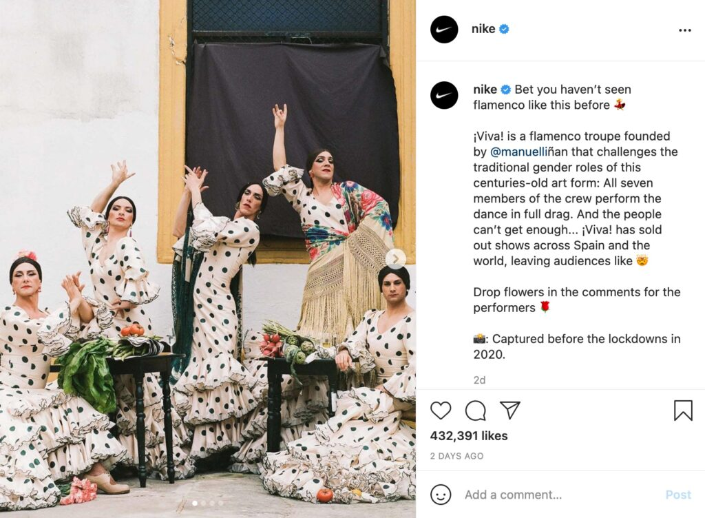 Fashion brands always tell a story through quality captions