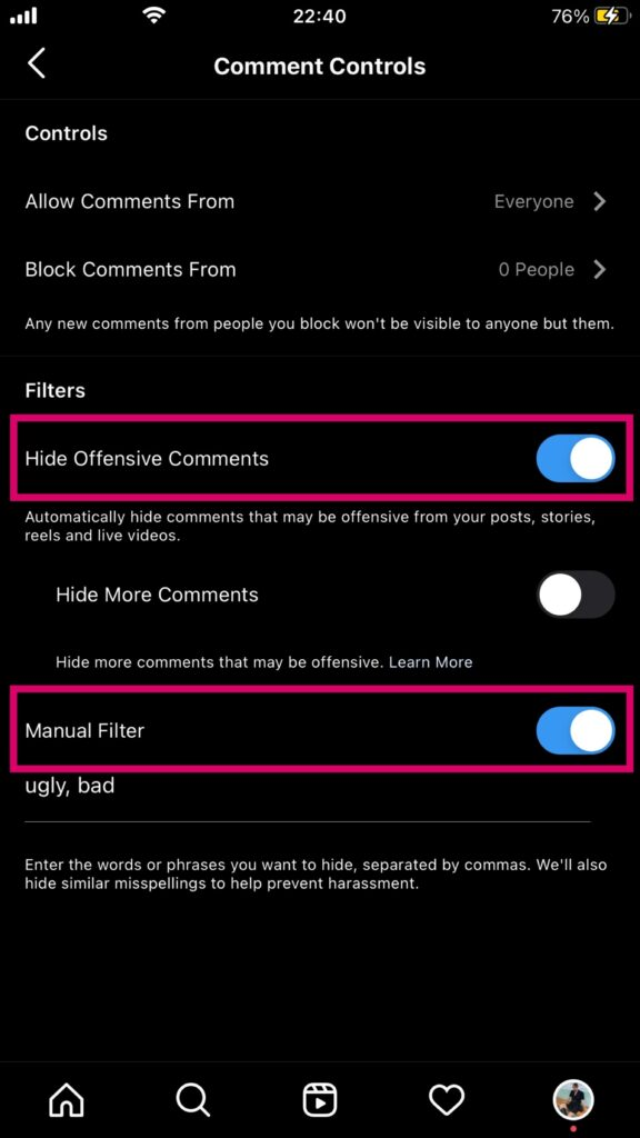 Filter comments to remove offensive messages during live