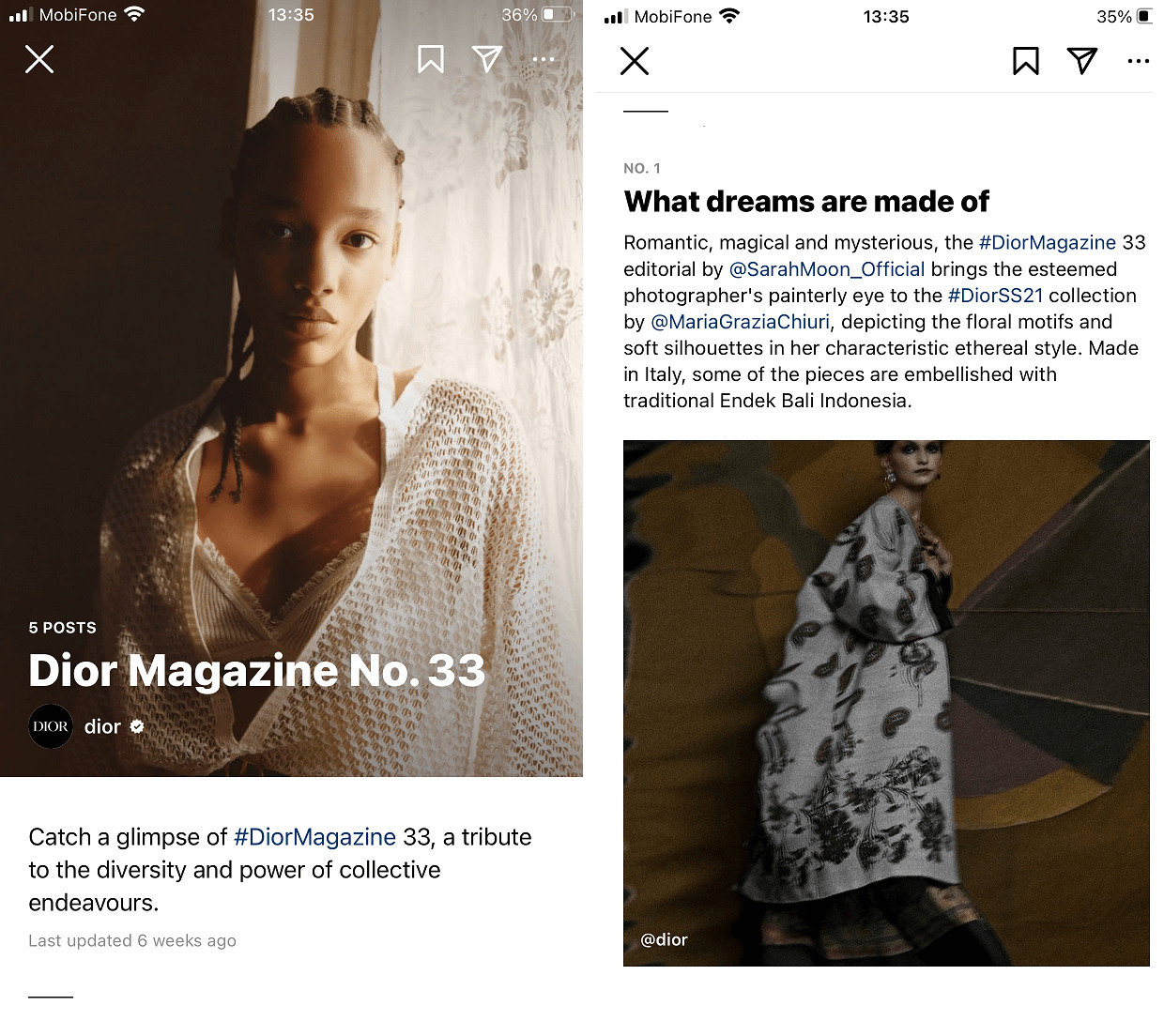 A well-curated magazine created by Instagram Guides by Dior