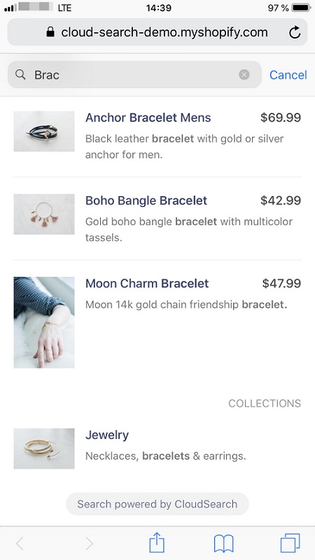 Product filter app for Shopify by CloudSearch