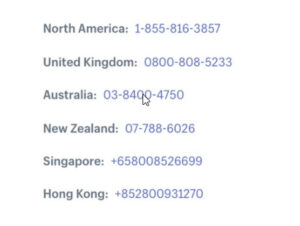 The support phone numbers Shopify used to provide for merchants