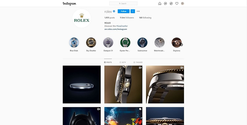 Hashtag with official Rolex page provides lots of great pictures