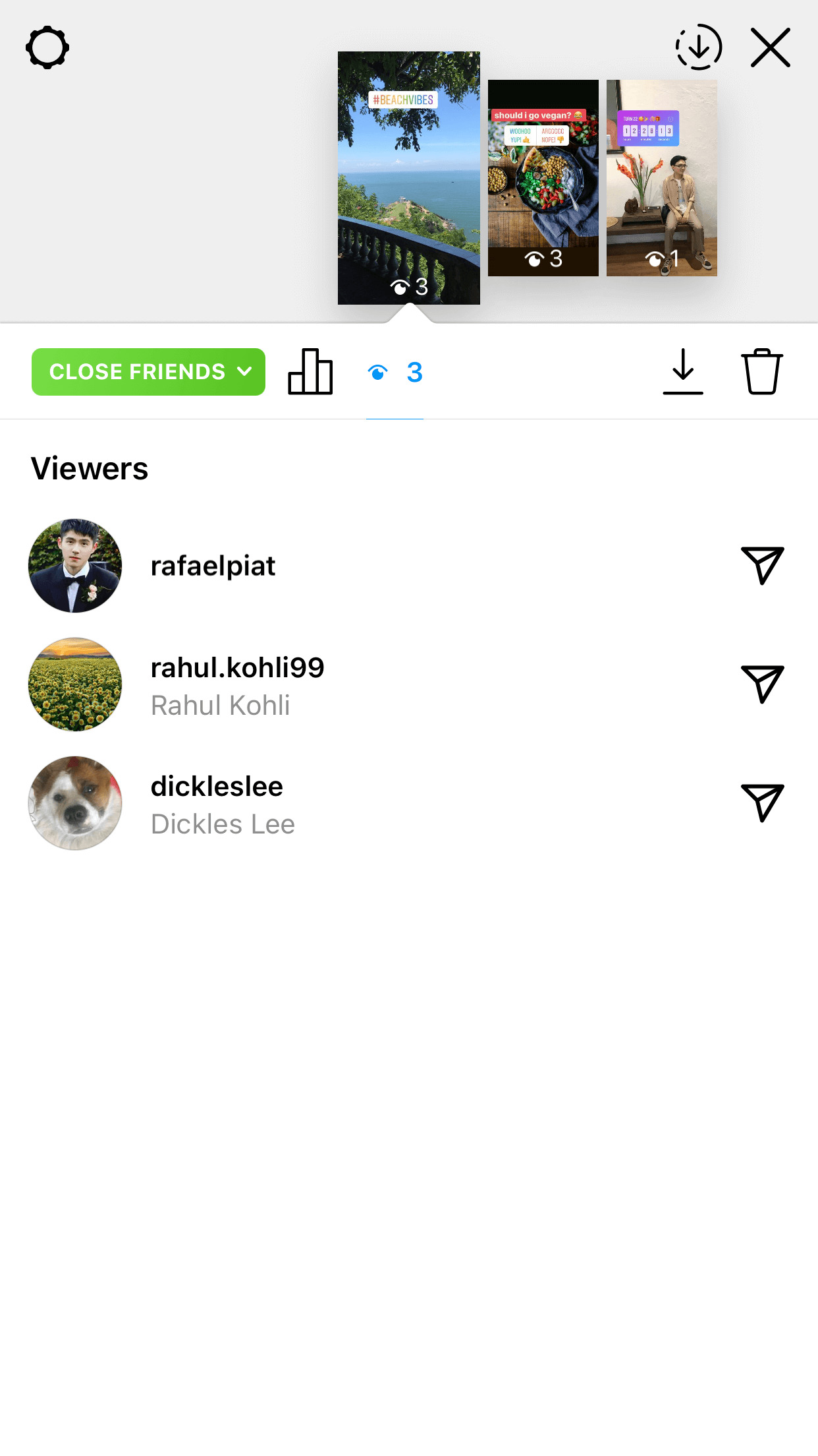 Swipe up your stories to check the viewer list and count