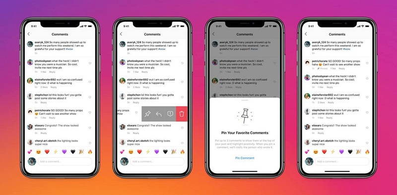 Instagram pinned comments feature has shown to be extremely useful. Source: Instagram