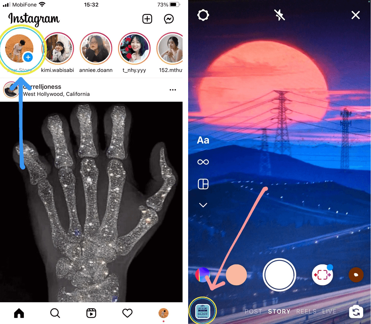 Pick the image you want to post on your story first