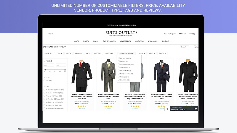 Customize how product filter features look to fit your store's theme. Source: Shopify