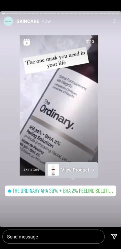 SkinStore uses product tag in their stories to increase the Instagram shopping experience