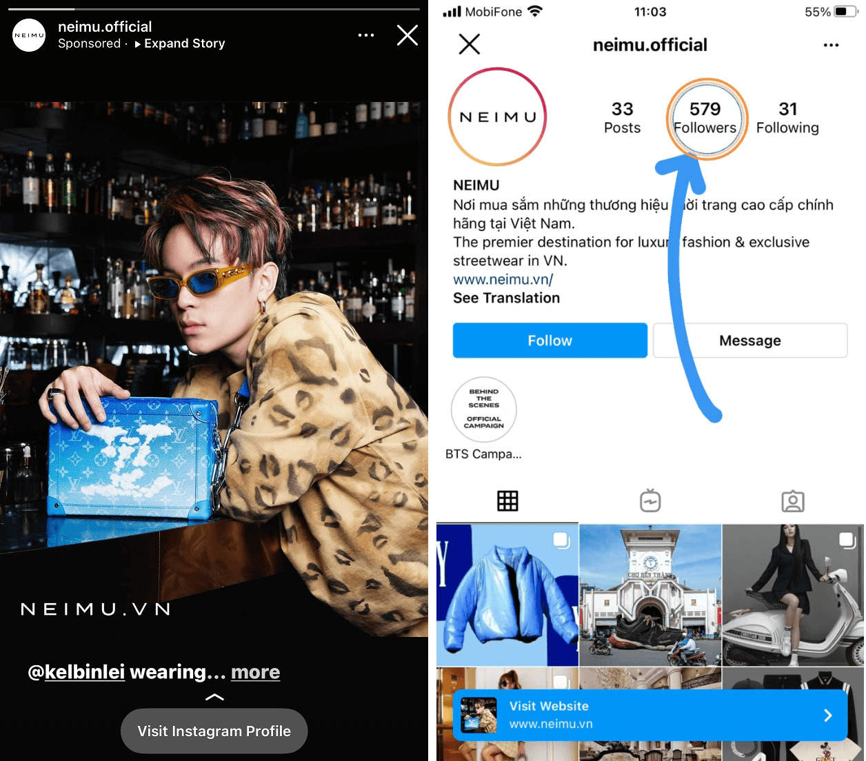This fashion store only has approximately 600 followers but they can still use the swipe-up feature