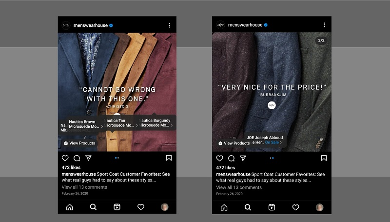 See how menswearhouse, an Instagram men's clothing brand, uses product tags in their carousel