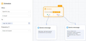 An example of using Schedule to customize your chat flow - Socialreply V2.5